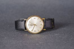 GENTLEMENS OMEGA GOLD WRISTWATCH, circular silver dial with applied baton and roman numeral hour