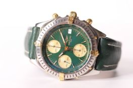 BREITLING CHRONOMAT WITH BOX AND PAPERS CIRCA 1992 REFERENCE B13048, circular green dial, gilt