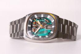 VINTAGE BULOVA ACCUTRON SPACE VIEW CIRCA 1972, skeletonised dial, orange centre seconds hand,