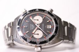 VINTAGE HEUER AUTAVIA VICEROY REFERENCE 1163, circular black dial, twin subsidiary panda dials,