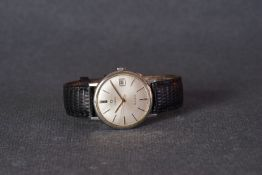 GENTLEMENS OMEGA GENEVE DATE WRISTWATCH, circular silver dial with hour markers and hands, date