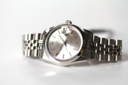 MIDI ROLEX OYSTER PERPETUAL DATE JUST REFERENCE 68240 CIRCA 1987, silver dial with baton hour