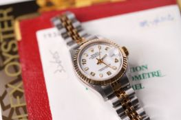LADIES ROLEX BI COLOUR OYSTER PERPETUAL DATE JUST REFERENCE 69173 CIRCA 1998 WITH BOX + PAPERS,