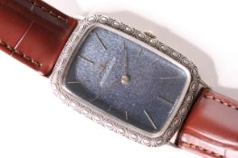 UNUSUAL 1960S JAEGER-LE COULTRE DRESS WATCH, oversize rectangular cushion blue textured dial,