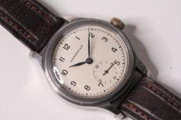 RARE MILITARY LONGINES WRISTWATCH, circular cream dial, Arabic numerals, minute track, subsidiary