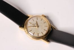 LADIES VINTAGE OMEGA WRISTWATCH, circular silver dial with baton hour markers, black leather