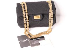 New Unused Chanel, Matt Quilted Chanel Classic Handbag, cross body gold coloured gilt metal strap,