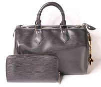 Louis Vuitton Speedy Holdall Tote Bag, black leather, padlock fastening, two rounded top handles and