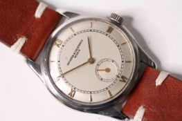 VINTAGE VACHERON & CONSTANTIN GENEVE STEEL CASED DRESS WATCH, circular stepped dial, with applied