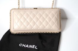 New Unused Chanel, Quilted Chanel Evening Clutch Bag, cream coloured lamb skin material, gold