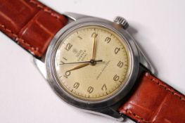 VINTAGE TUDOR OYSTER ROYAL REFERENCE 7934 , patina cream dial, gilt Arabic numerals, minute track,