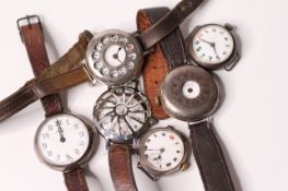 *TO BE SOLD WITHOUT RESERVE*Group of 5 Trench Watches WW1, two with shrapnel guards, two ladies,