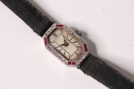 ART DECO RUBY AND DIAMOND COCKTAIL WATCH, 18ct white gold case, set with diamonds and rubies,