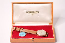 VINTAGE 9CT LONGINES 'EXPLORER' WITH BOX AND TAG CIRCA 1962, circular cream dial, gold baton and