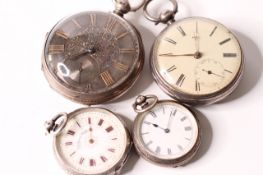 *TO BE SOLD WITHOUT RESERVE*Group of 4 silver pocket watches, 1-Gents silver pocket watch, Solid