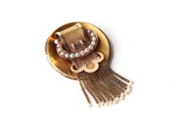 Victorian Buckle Brooch With Natural Pearls, tested as 15ct