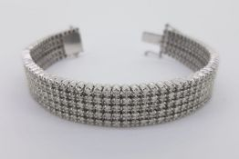 5 Row Diamond Bracelet, estimated total 12.00ct, white gold, push and slide hidden clasp with 2