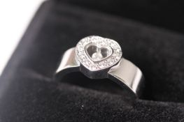 Chopard Heart Shaped Floating Diamond Ring, heart shaped centre set with round brilliant cut