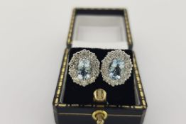 Pair of Aquamarine & Diamond Cluster Earrings, claw set central oval cut aquamarines are