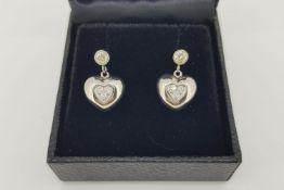 Pair Of Diamond Set Heart Drop Earrings, bezel set diamond stud with screw back posts and