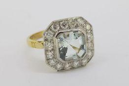Asscher Cut Aquamarine & Diamond Cluster Ring, platinum set with 18ct yellow gold basket and