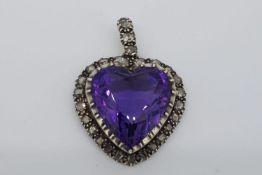 Victorian Heart Shaped Amethyst & Diamond Pendant
