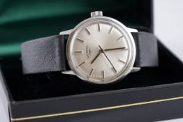 GENTLEMENS ROTARY WRISTWATCH W/ BOX CIRCA 1970, circular silver dial with stick hour markers and