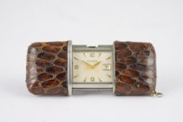 VINTAGE MOVADO ERMETO PURSE TRAVEL WATCH, square off white dial with applied gold hour markers and