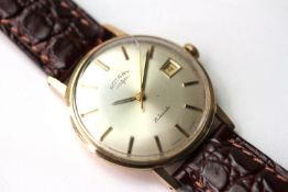 VINTAGE ROTARY WRIST WATCH, circular silver dial with gold baton hour markers, gold hands, date