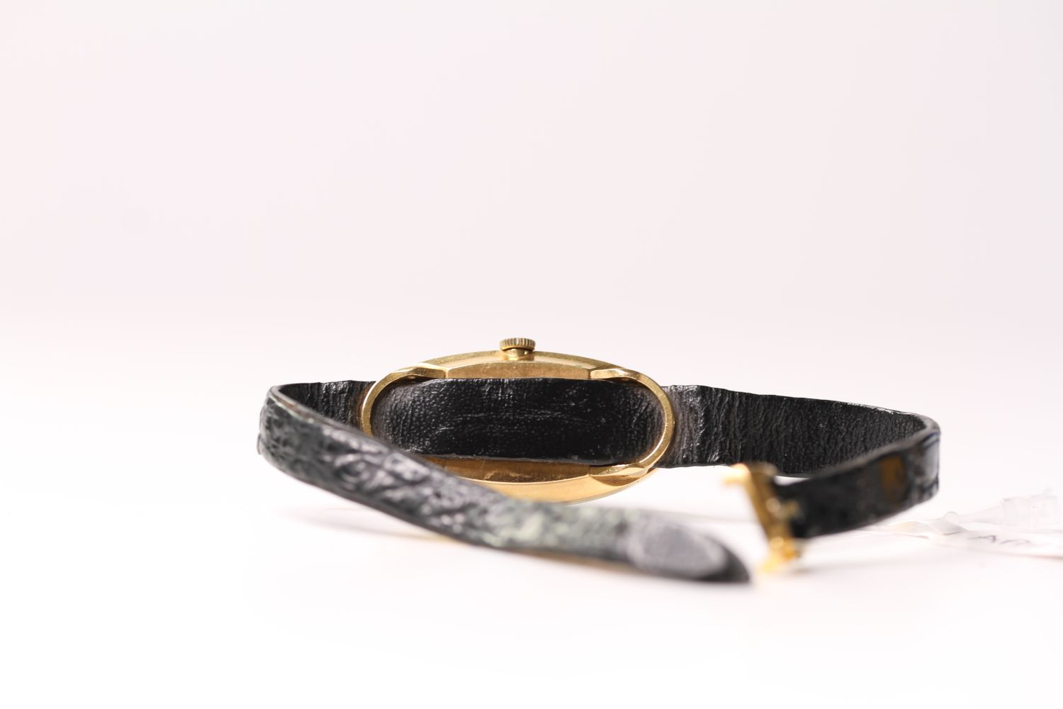 RARE LADIES BAUME & MERCIER BAIGNOIRE WRISTWATCH REF. 38261, oval black dial with gold leaf hands, - Image 2 of 2