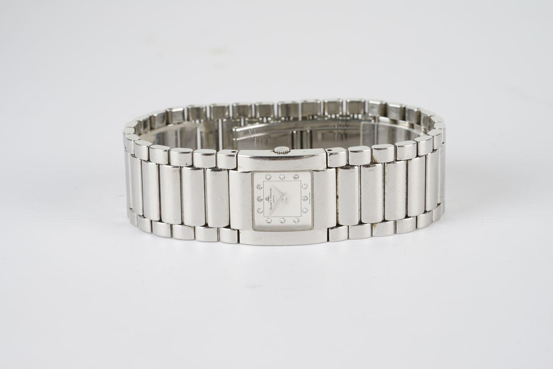 LADIES BAUME & MERCIER DIAMOND SET WRISTWATCH W/ BOX & PAPERS, square two tone dial with diamond - Image 2 of 2