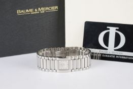 LADIES BAUME & MERCIER DIAMOND SET WRISTWATCH W/ BOX & PAPERS, square two tone dial with diamond