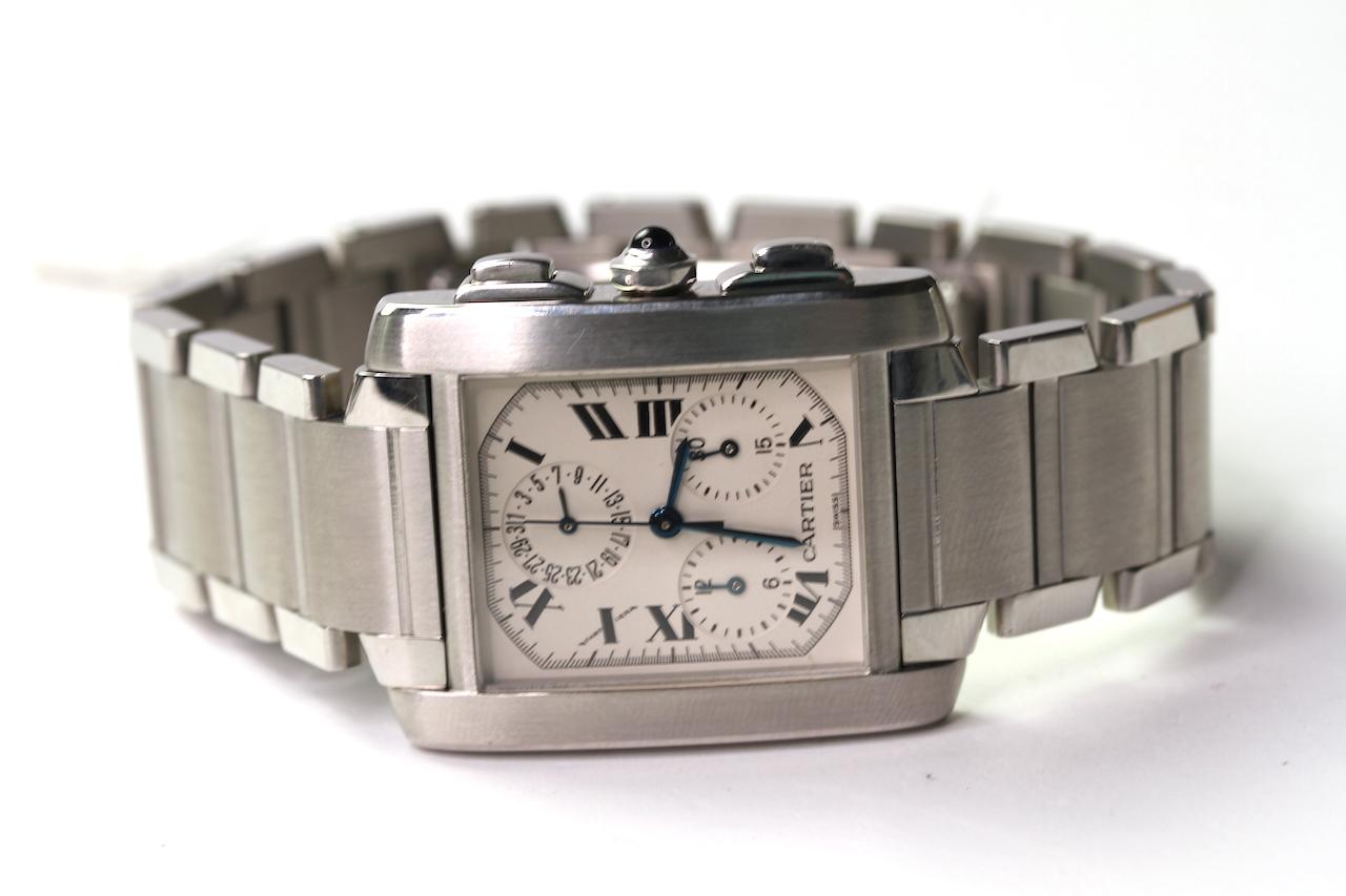 CARTIER TANK CHRONOGRAPH QUARTZ WRIST WATCH REFERENCE 2303, rectangular white dial with roman