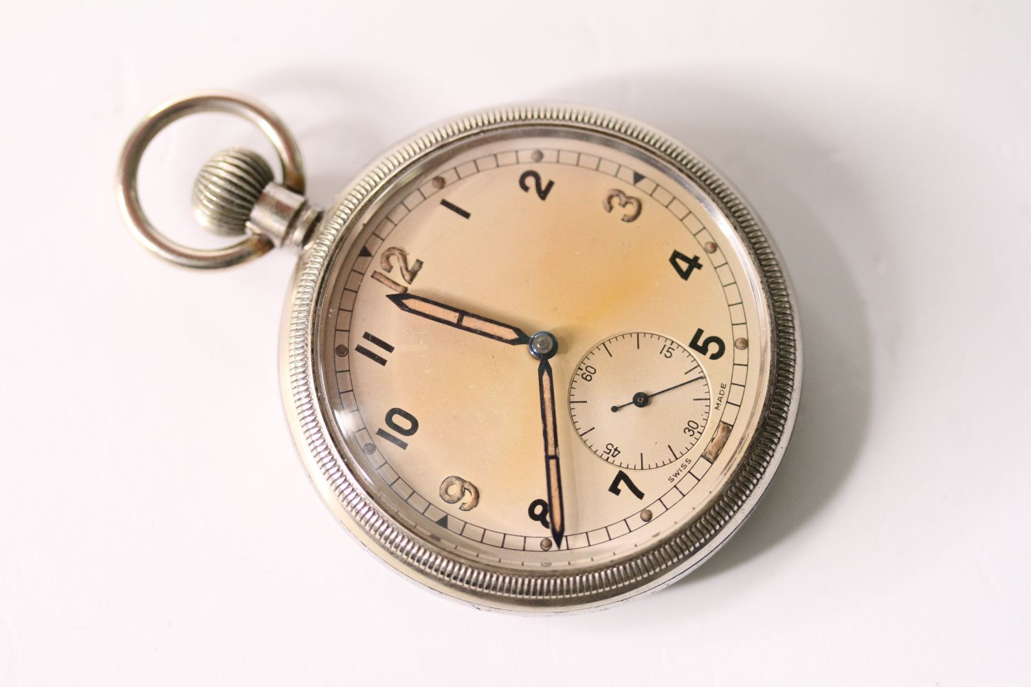 VINTAGE REVUE THOMMEN G.S.T.P MILITARY POCKET WATCH SERVICED, circular cream dial with arabic