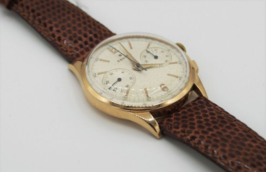 ZENITH JUMBO CHRONOGRAPH IN 18CT PINK GOLD CIRCA 1956. SERIAL 143831, REFERENCE 19518, ZENITH CAL. - Image 3 of 8