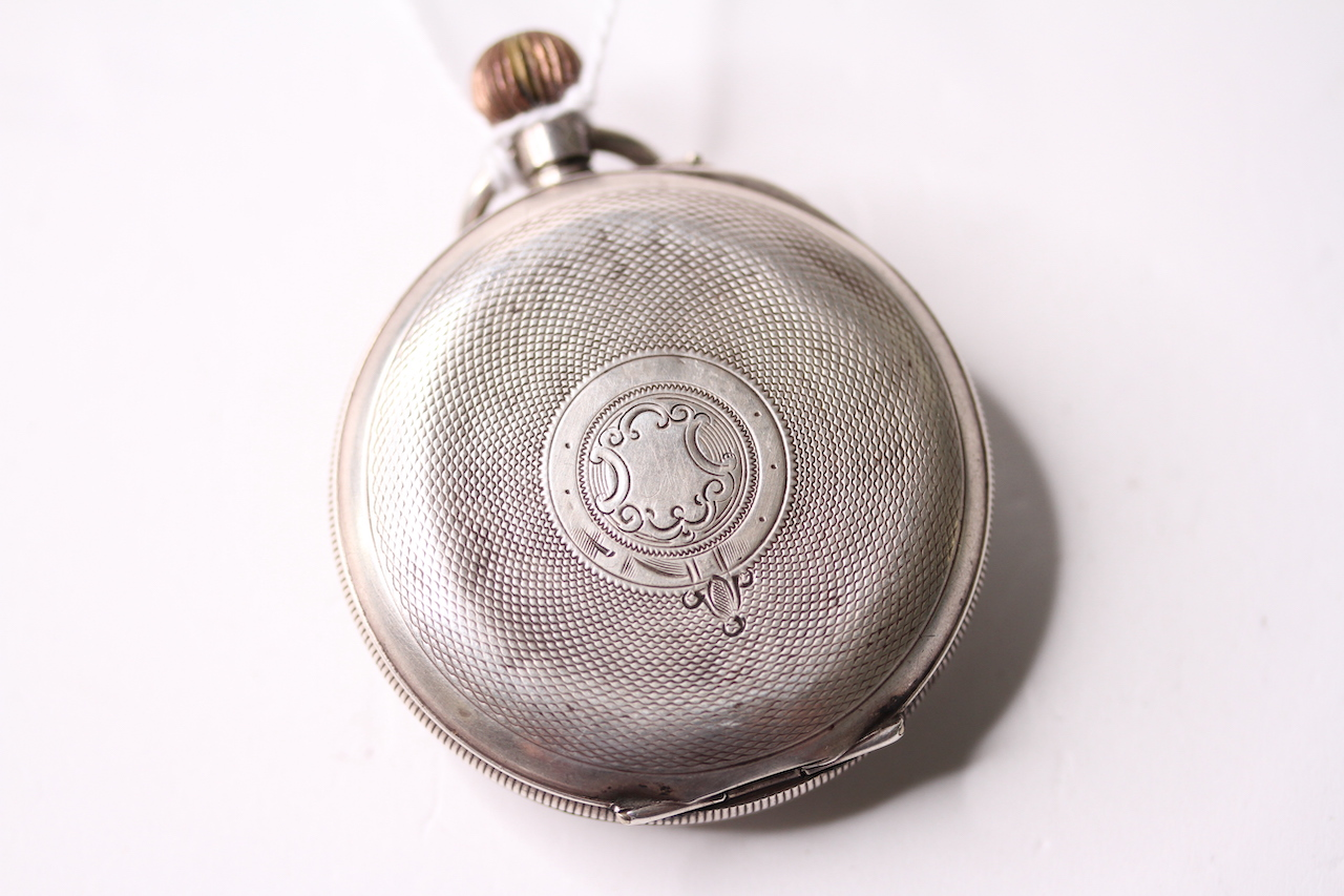 Silver 8 Day open faced pocket watch, porcelain demi dial, open work balance, silver case, stop/ - Image 2 of 4