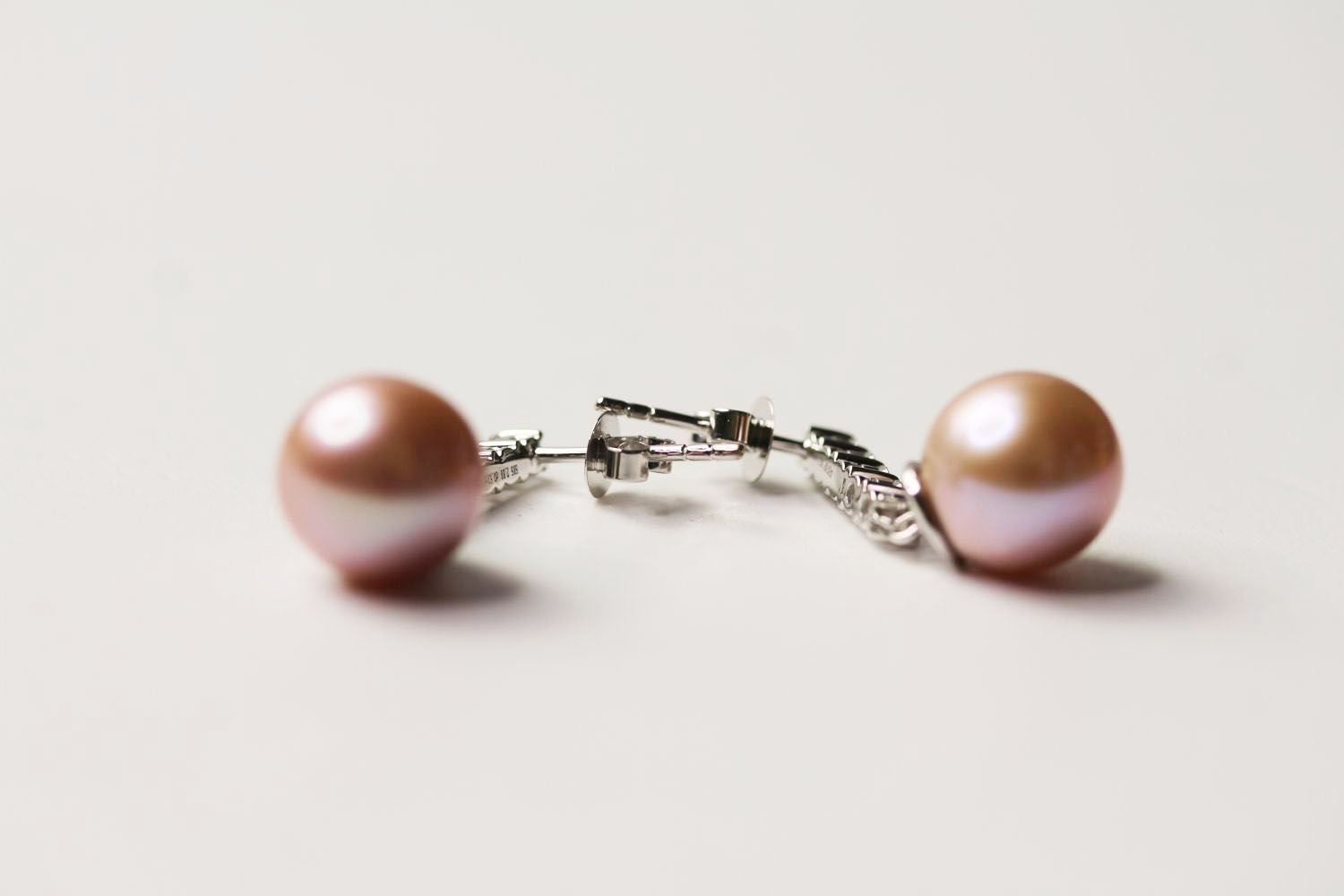 Pair Of Pink South Sea Pearl & Diamond Earrings, set with 2 round cultured pearls, 10 round - Image 2 of 3