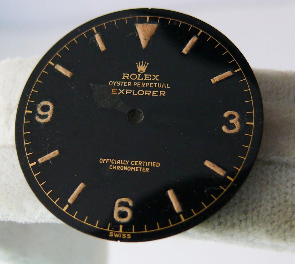 1950s Rolex Gents Explorer Dial Ref 6610, genuine 1950s rolex explorer dial showing some radium burn - Image 2 of 8