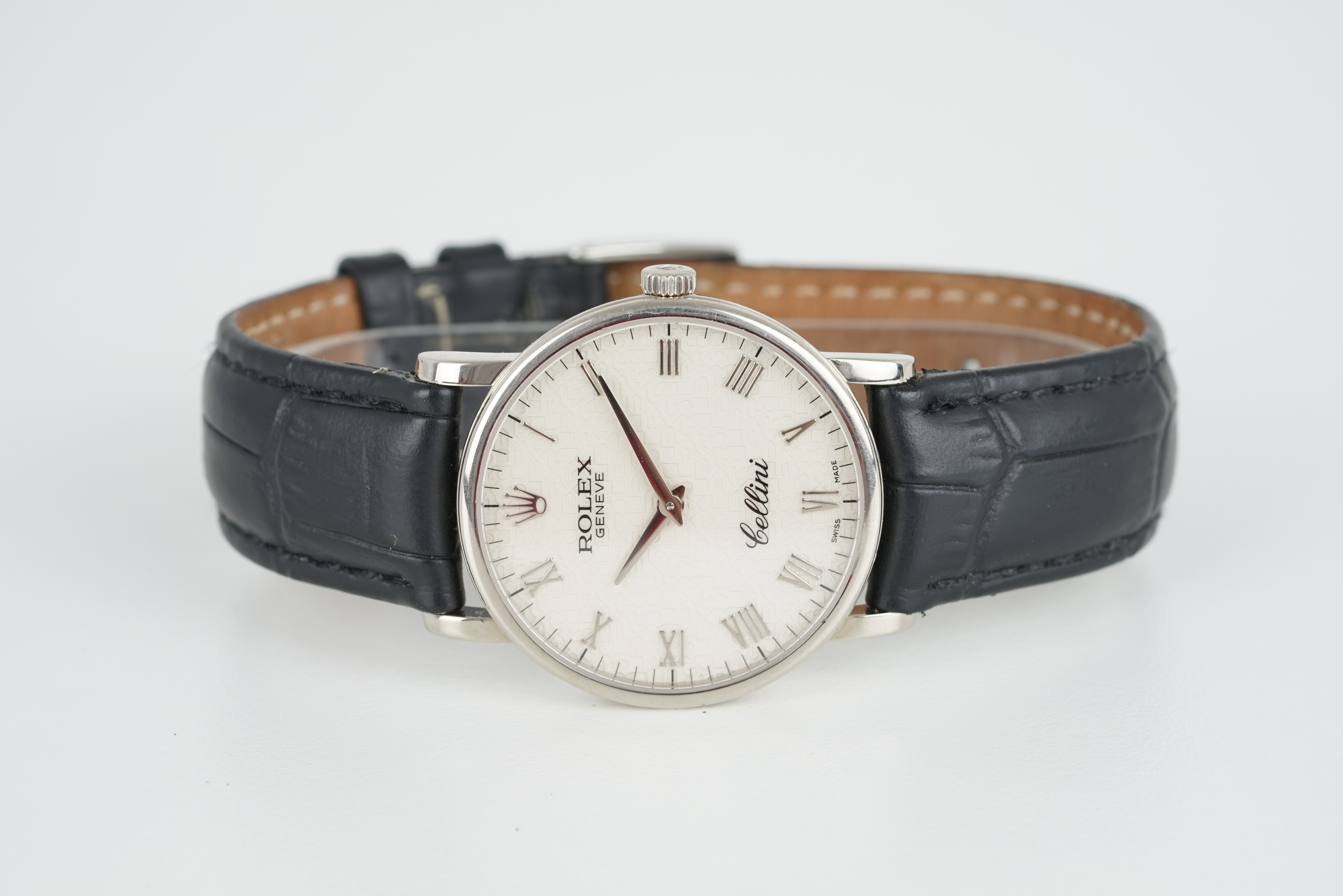 GENTLEMENS ROLEX CELLINI 18CT WHITE GOLD WRISTWATCH, circular white rolex repeat dial with roman