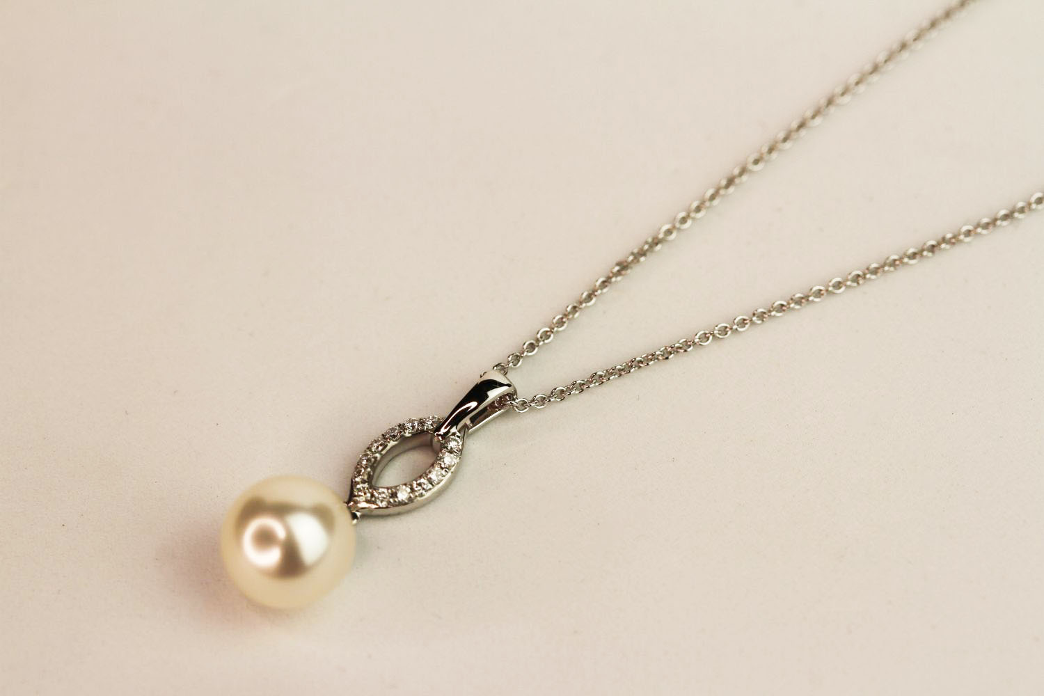 9ct white gold pearl and diamond drop pendant and chain, boxed. Diamonds 0.08ct - Image 2 of 2