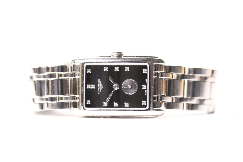 LONGINES DIAMOND DIAL DOLCE VITA WRISTWATCH REF L5.255.4 W/BOX & PAPERS, rectangular black dial