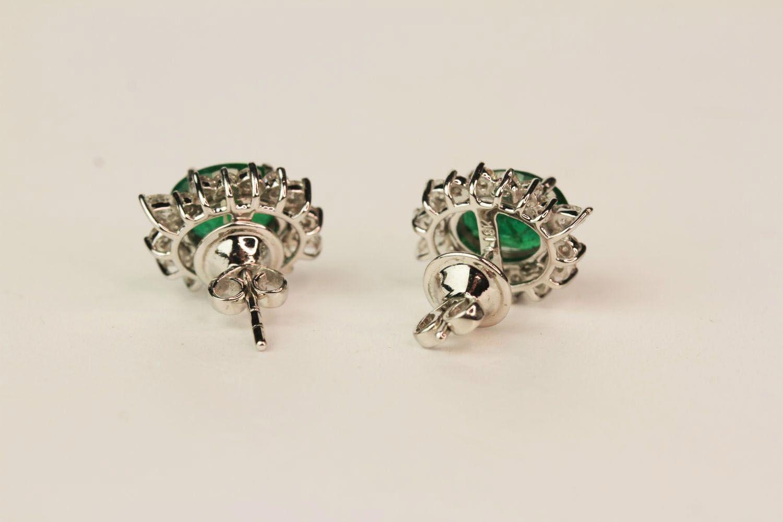 Pair Of Emerald & Diamond Earrings, set with round brilliant diamonds - Image 3 of 4