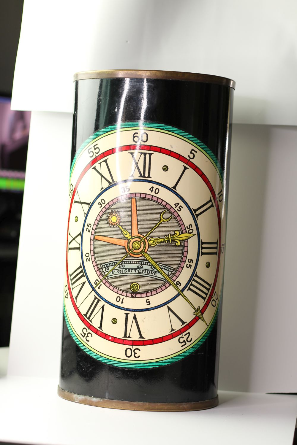 Vintage Fornasetti umbrella stand, lacquer finish with watch face design, sticker to base,