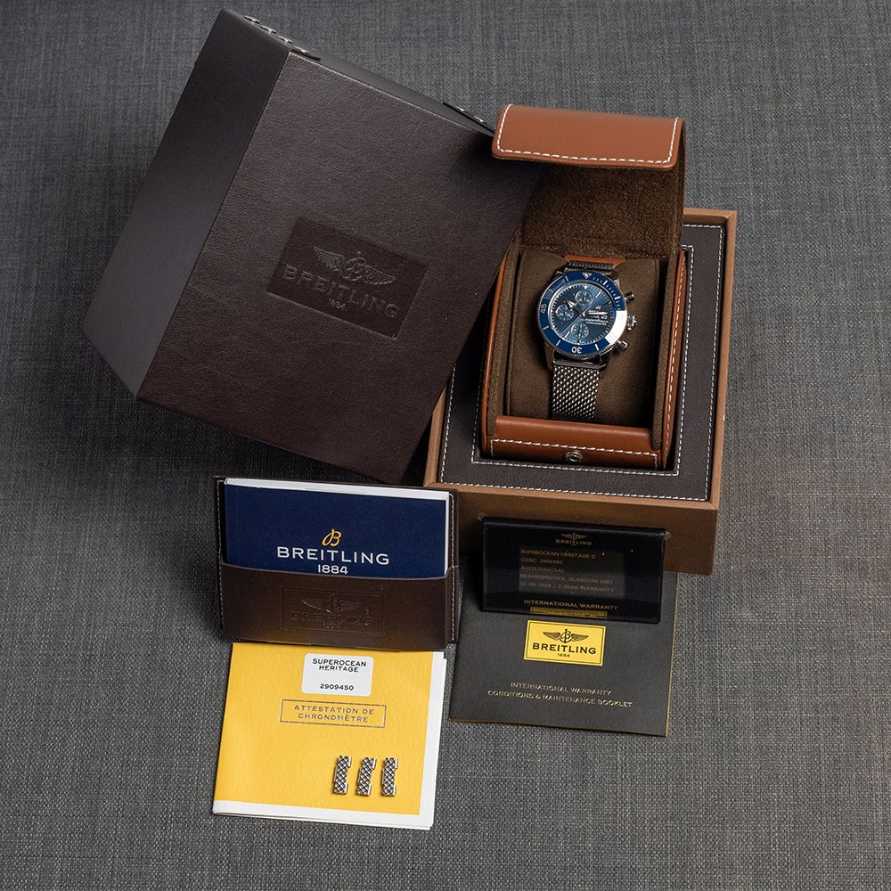 GENTLEMAN'S BREITLING SUPEROCEAN HERITAGE CHRONOGRAPH 44 BLUE , REF. A13313161C1A1, AUGUST 2018 - Image 3 of 10