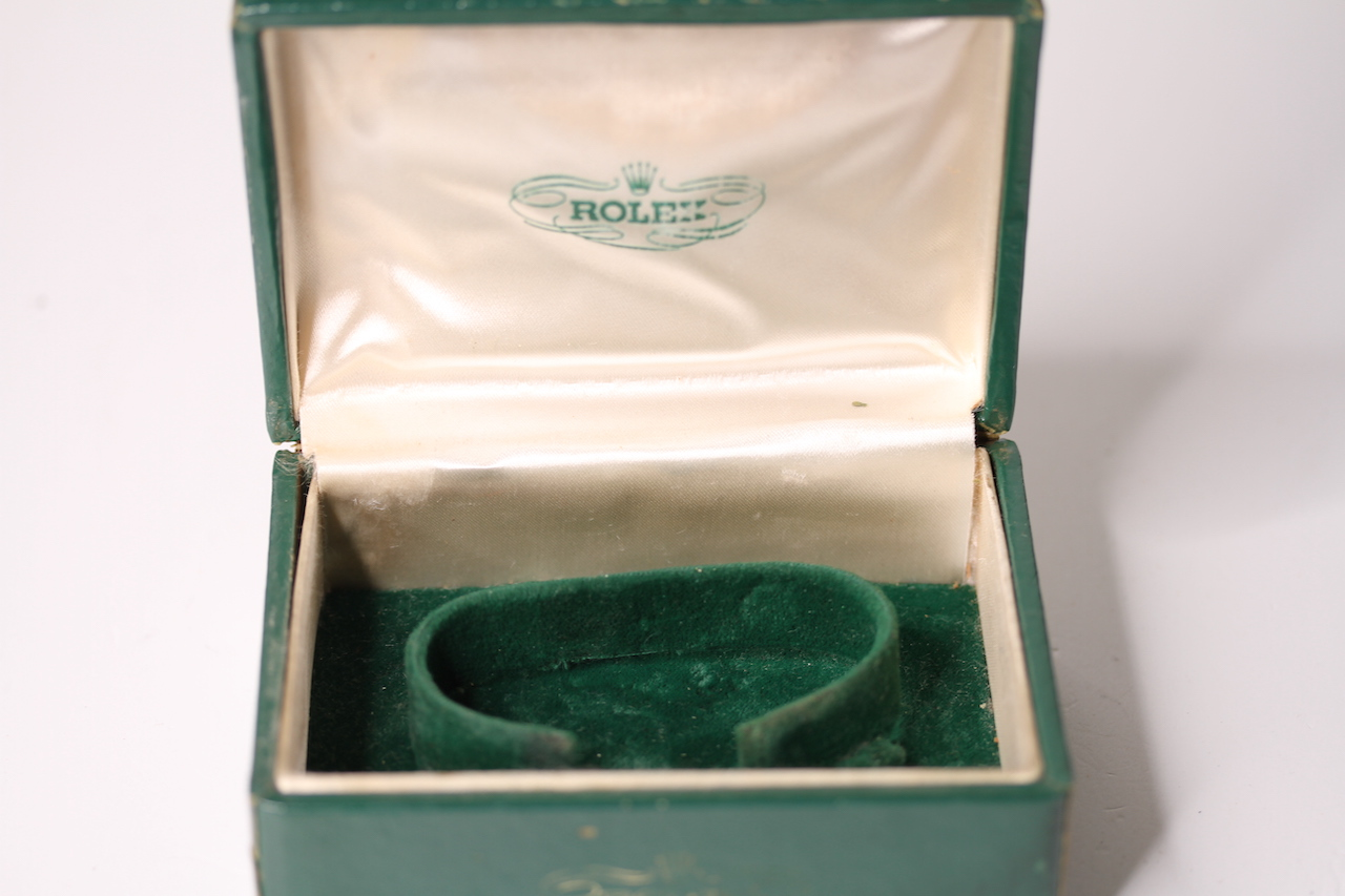 1950s ROLEX WATCH BOX, green Rolex watch box, sports model box, worn condition, comes with watch - Image 2 of 3
