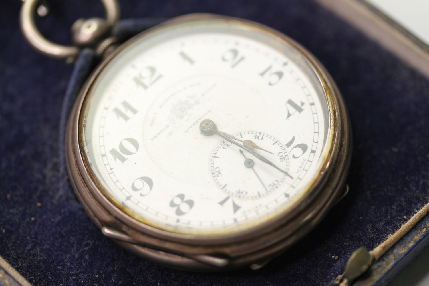 SILVER THO'S RUSSELL & SON POCKET WATCH & ALBERT CHAIN, circular white dial with arabic numbers, - Image 2 of 6