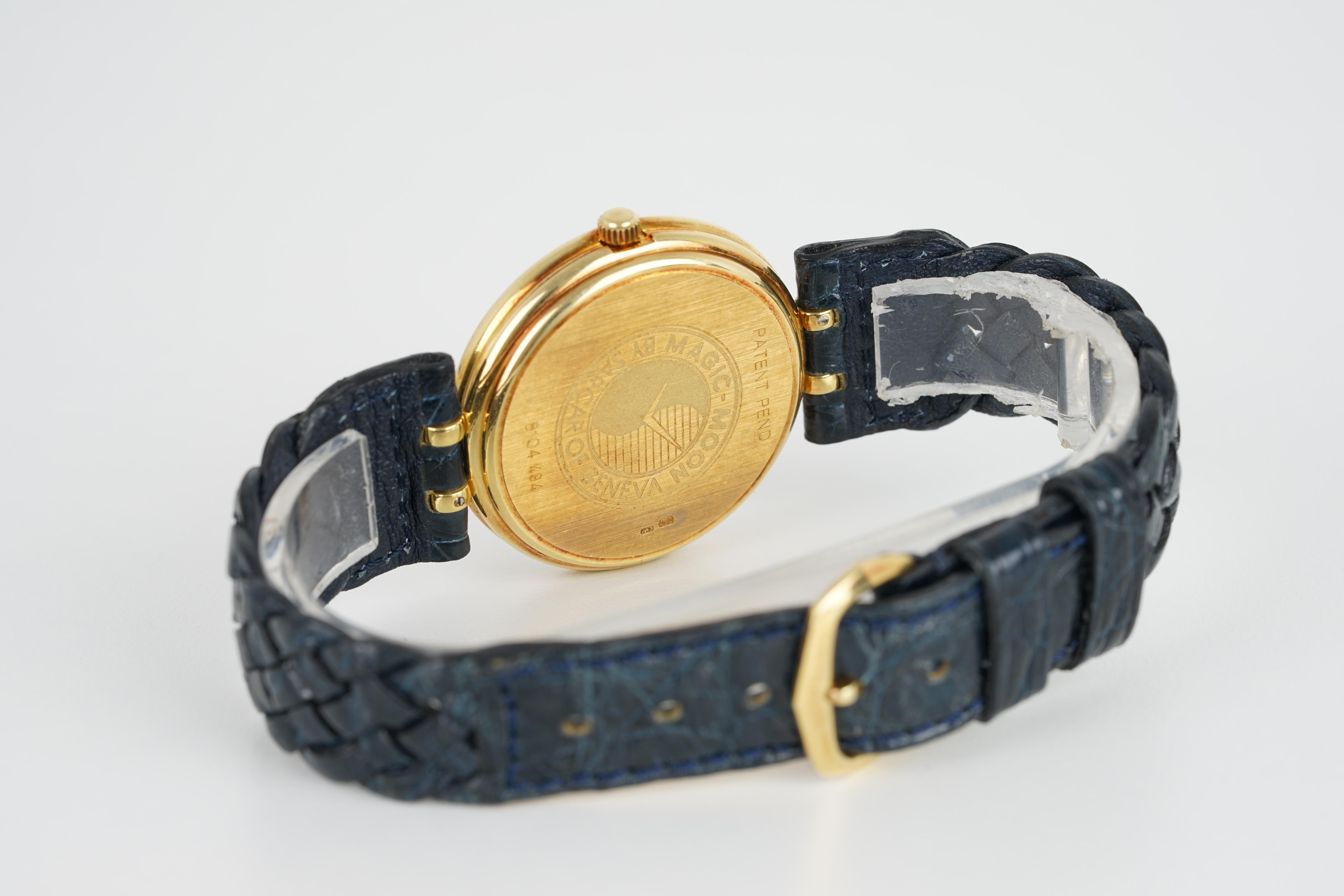 GENTLELMENS SARCAR GENEVE ASPREY 18CT GOLD DIAMOND SET WRISTWATCH, circular dial with dauphine - Image 3 of 3
