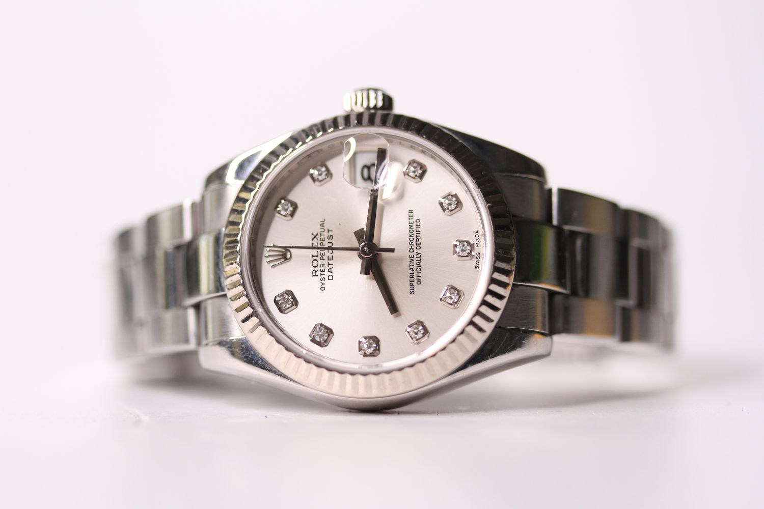 ROLEX DIAMOND DIAL DATEJUST WRISTWATCH REF 178274 W/PAPERS, circular silver dial with diamond hour