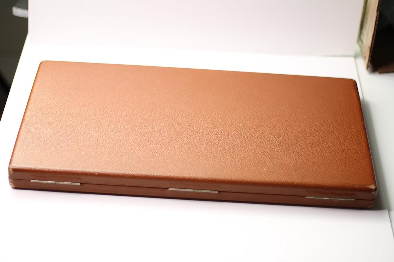 Vintage Oversized Omega Display Box, Tan Leather bound case, Velvet interior, approximately 46x25cm - Image 6 of 6