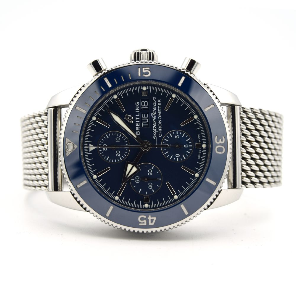 GENTLEMAN'S BREITLING SUPEROCEAN HERITAGE CHRONOGRAPH 44 BLUE , REF. A13313161C1A1, AUGUST 2018